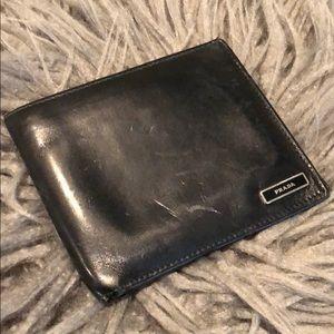 Prada black leather men's wallet